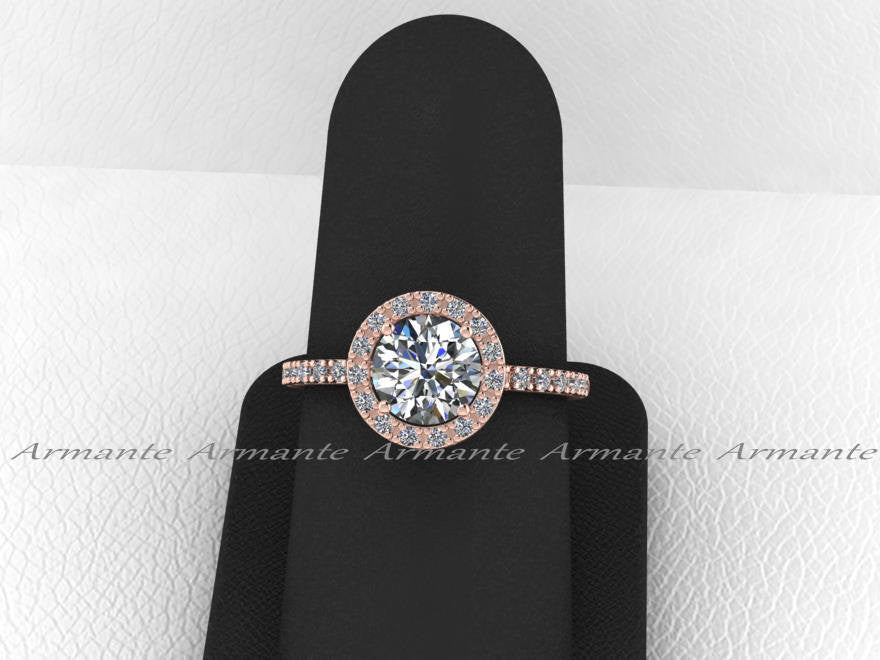 Rose Gold Engagement Ring, Halo Moissanite Diamond Engagement Ring, Halo Ring, Wedding Ring Re00059