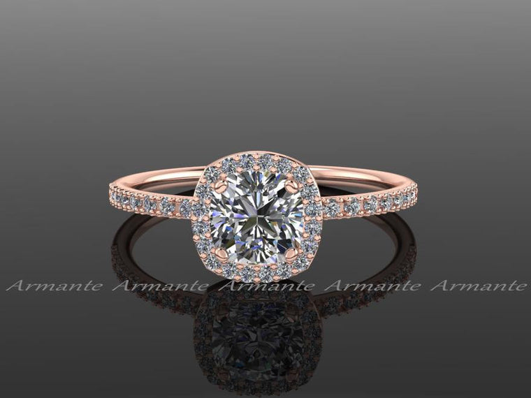 Halo Diamond Moissanite Engagement Ring / 14k Rose Gold Cushion Cut Wedding Ring,  Re00082