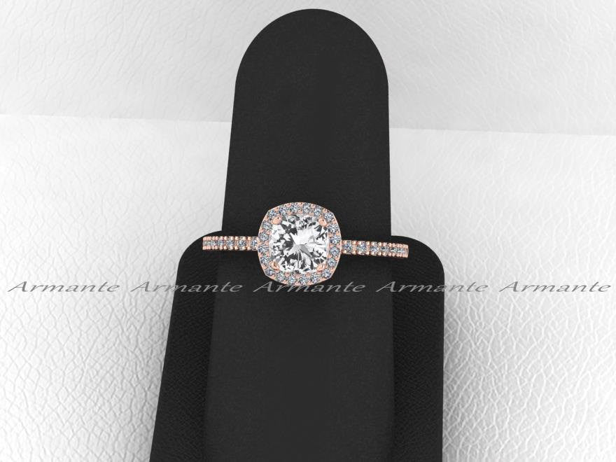 White Sapphire Engagement Ring, Diamond Halo Engagement Ring
