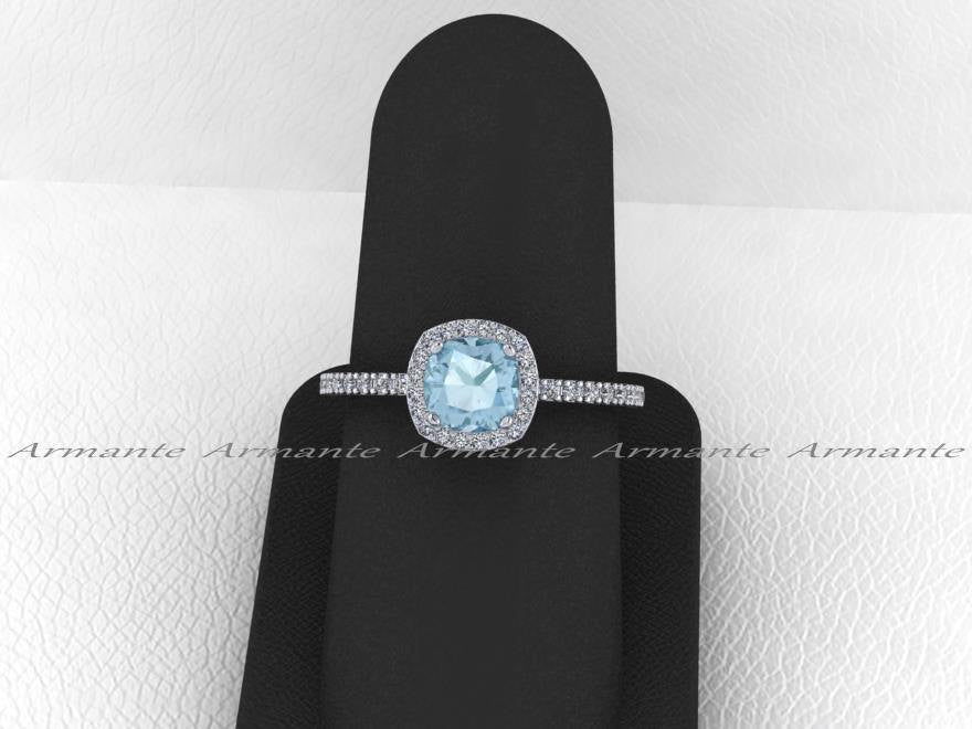 Cushion Cut Halo Diamond Aquamarine Engagement Ring