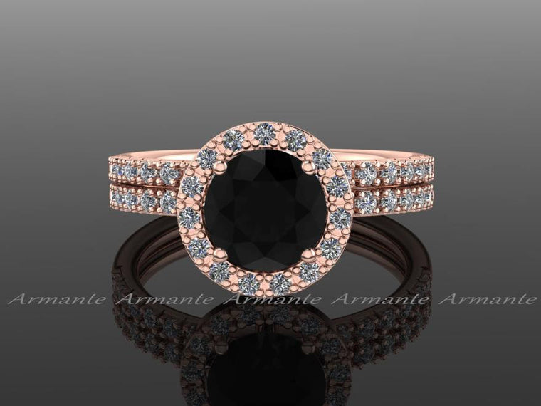 Halo Natural Black Diamond Wedding Ring Set, 14K Rose Gold