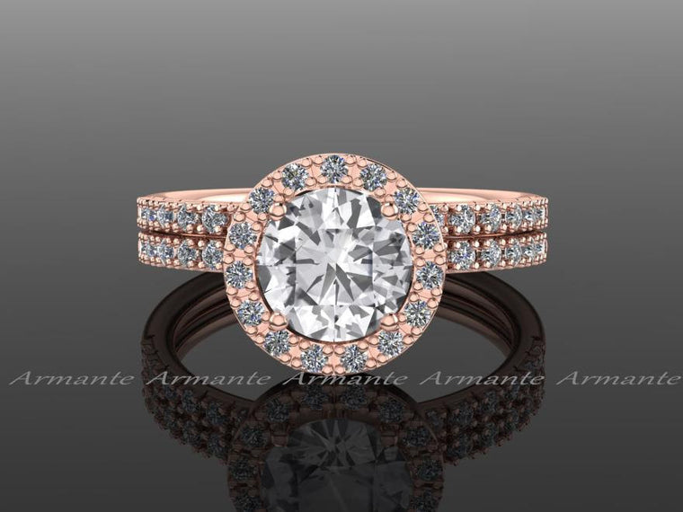 Natural White Sapphire And Diamond Bridal Set 14K Rose Gold