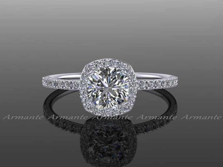 Halo Diamond Moissanite Engagement Ring Cushion Cut 14k White Gold Wedding Ring,  Re00082