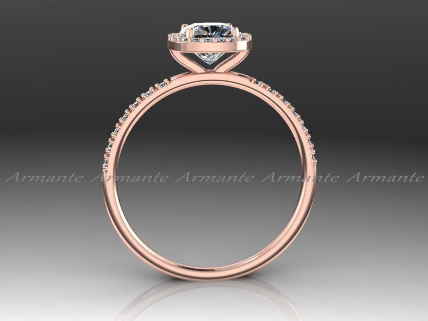 Rose Gold Halo Diamond & Moissanite Wedding Ring