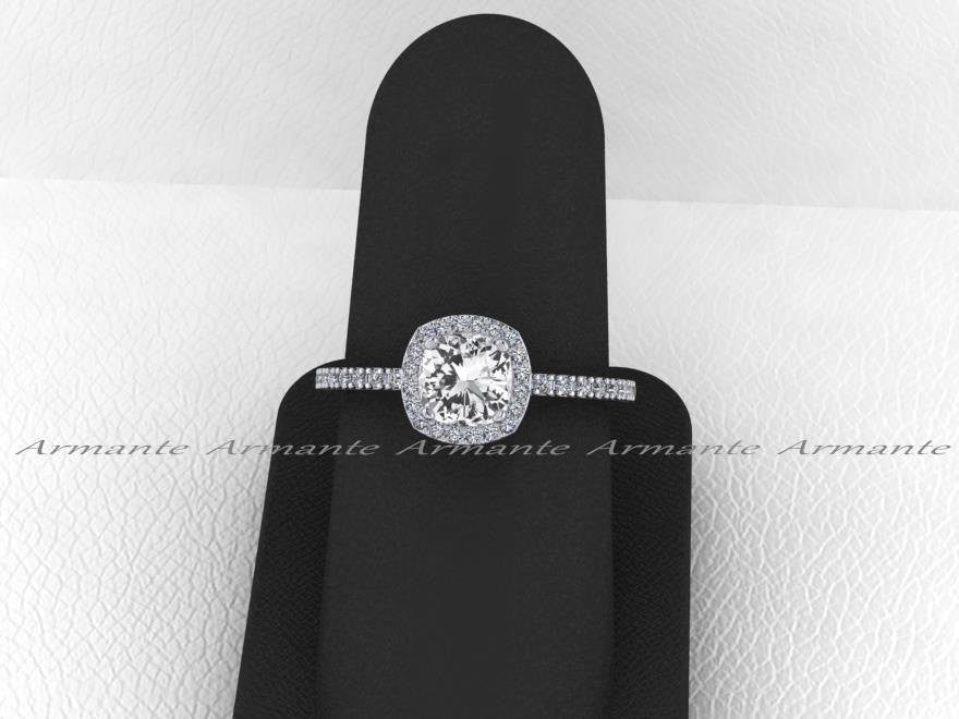 White Sapphire & Diamond Wedding Ring Cushion Cut