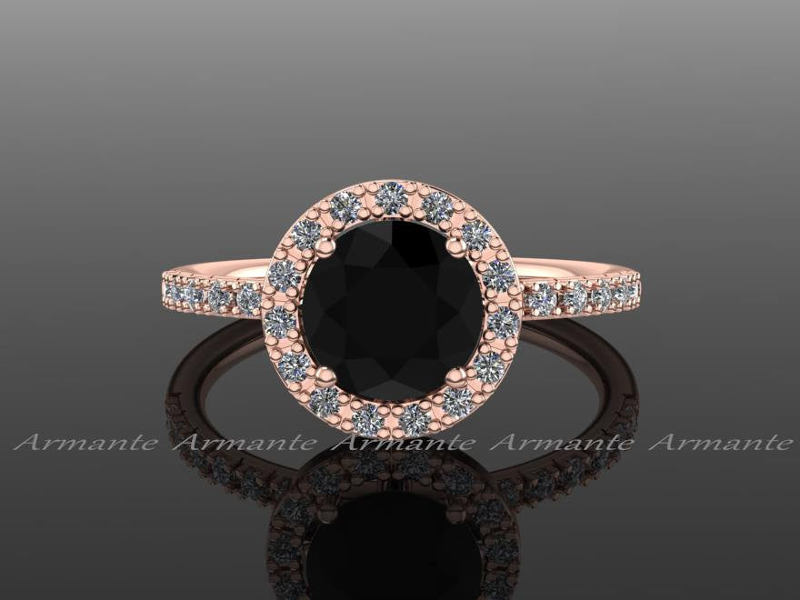 14K Rose Gold Halo Natural Black Diamond Engagement Ring
