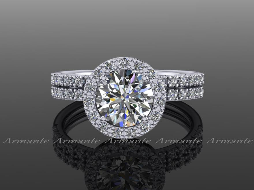 Diamond and Moissanite Wedding Ring Set, 14K White Gold