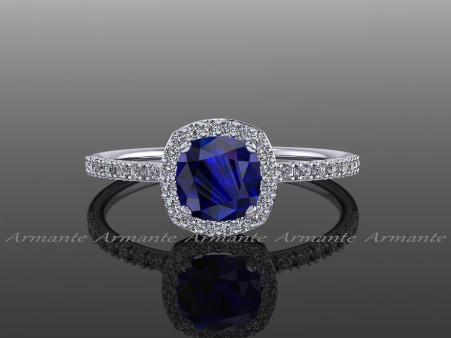 Blue Sapphire & Engagement Ring Cushion Cut Ring