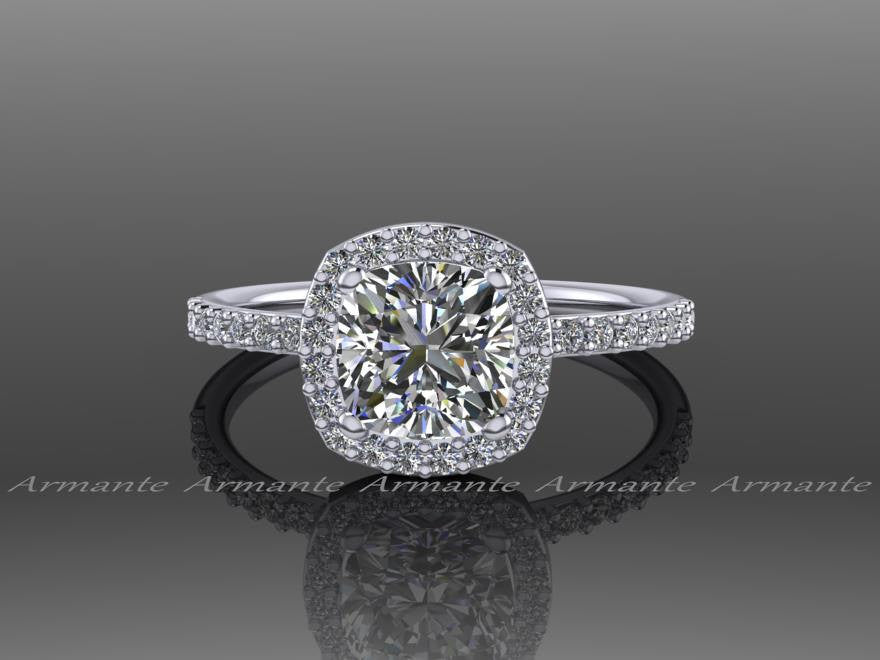 Cushion Cut Halo Moissanite and Diamond Engagement Ring