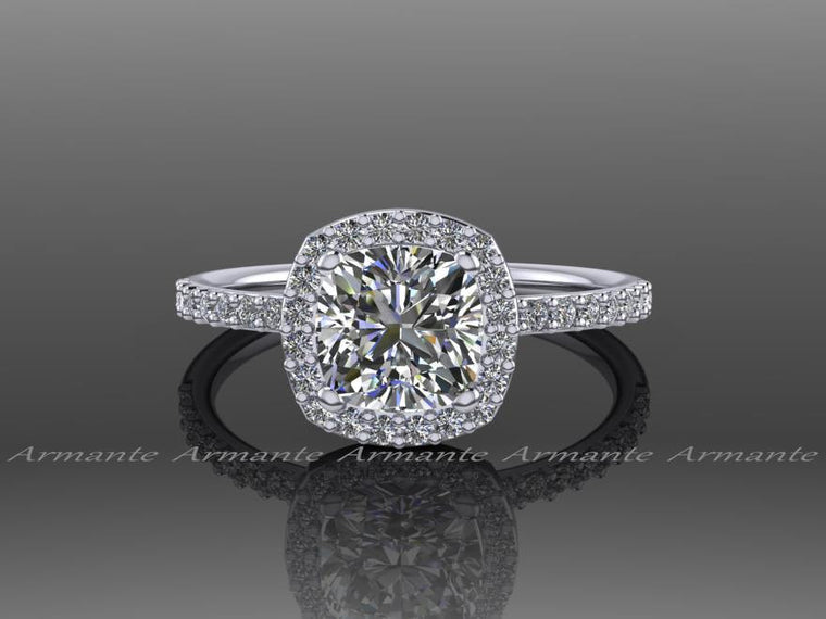 Halo Moissanite and Diamond Engagement Ring, 14K White Gold Wedding Ring Promise Ring RE00054W