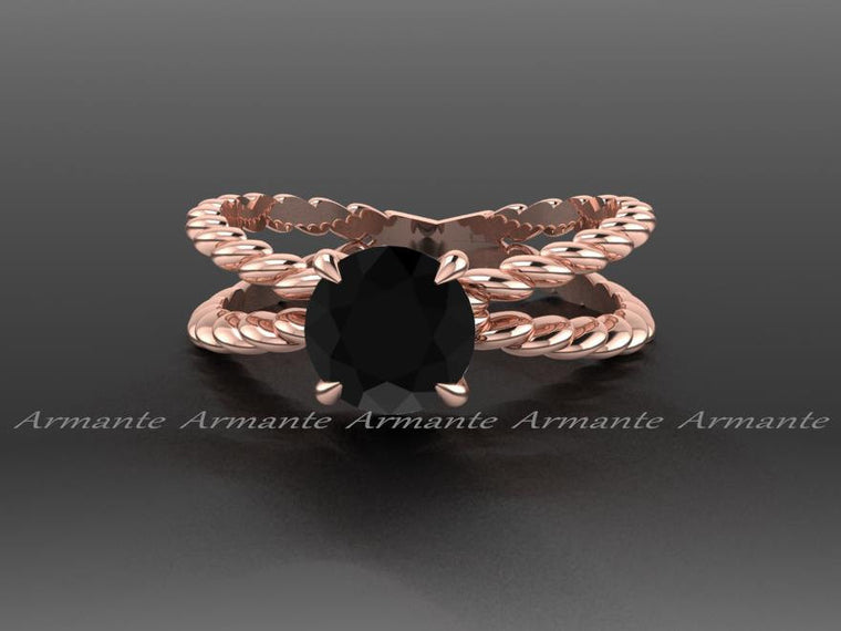 Black Diamond Engagement Ring, Rose Gold, Promise Ring, Solitaire Ring Re00115