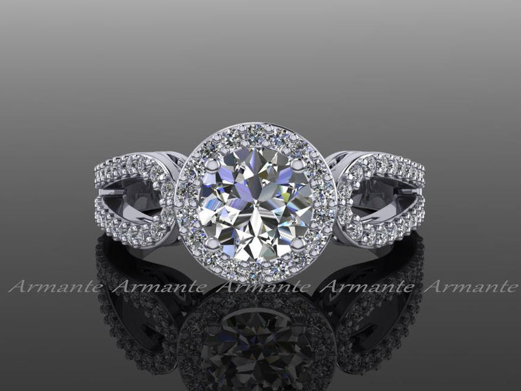 Diamond and Moissanite Halo Engagement Ring, 14k White Gold Diamond And Moissanite Filigree Wedding Ring Re00012w