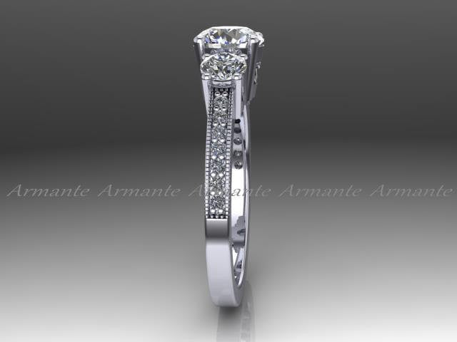 Diamond And Moissanite Vintage Style Engagement Ring