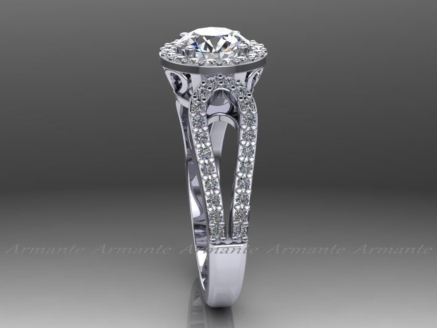 14K White Gold Diamond And Moissanite Filigree Wedding Ring