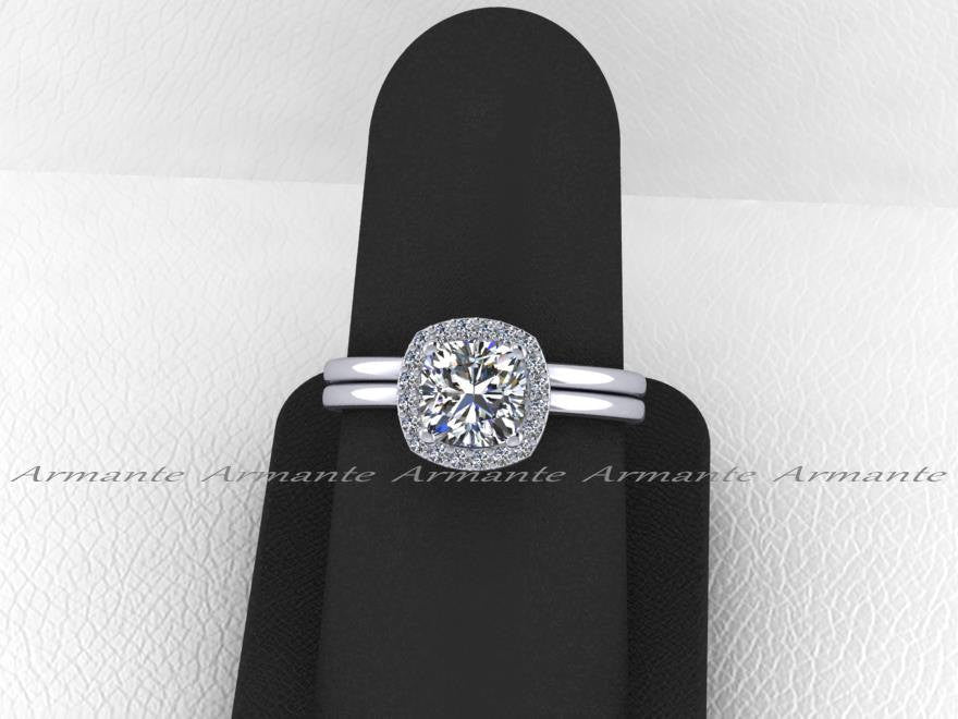Halo Moissanite Wedding Set, White Gold Plain Wedding Bands