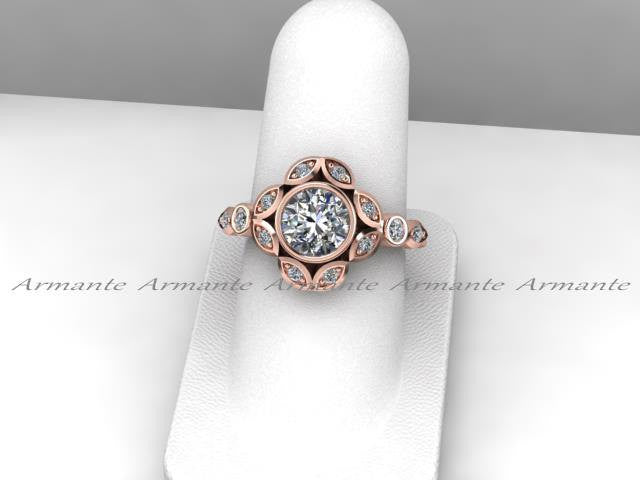 Leaf Flower Engagement Ring, Moissanite Engagement Ring