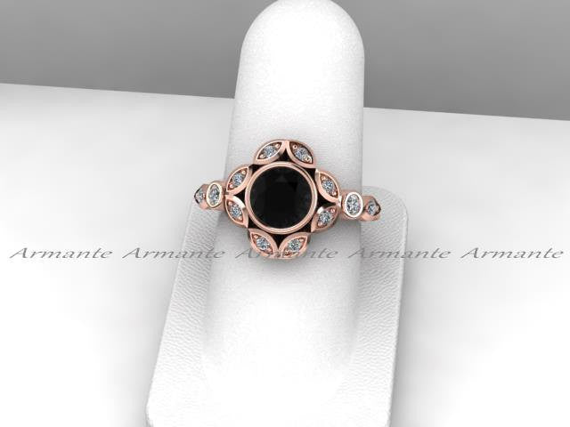Leaf Flower Engagement Ring, Black Diamond Engagement Ring