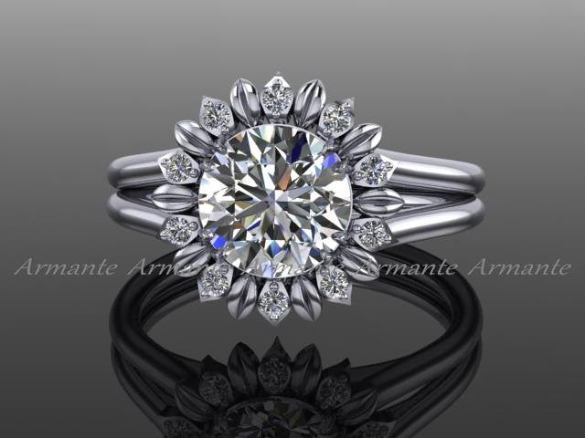 Sunflower Moissanite Ring White Gold Diamond Floral Engagement Ring