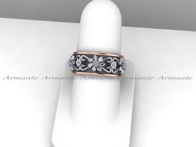 Unique Wedding Bands For Women.14k Rose White Gold Floral Diamond Wedding Band Ring