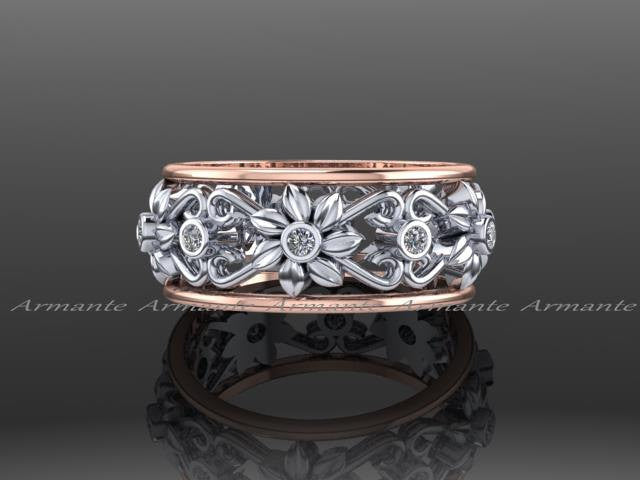 14k rose white gold floral diamond wedding band ring - Unique Wedding Rings For Women