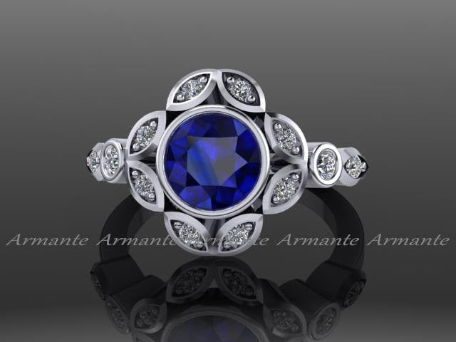 Leaf Flower Engagement Ring Diamond and Sapphire Bridal Ring