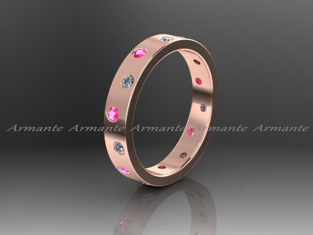 Pink Sapphire Wedding Band, Diamond and Pink Sapphire Eternity Band, 14K Rose Gold, Stack Band, Promise Ring. RE00016