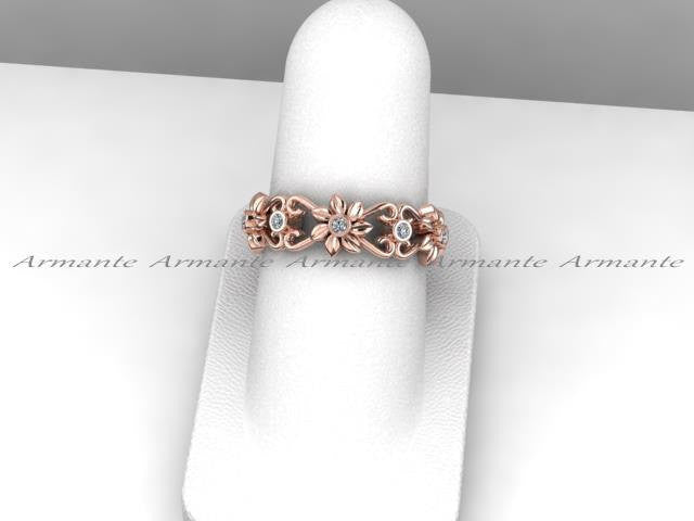 14K Rose Gold Floral Diamond Eternity Wedding Band Ring