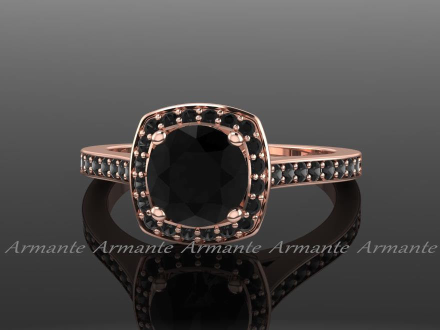 Unique Black Wedding Diamond Ring, Rose Gold Filigree Ring