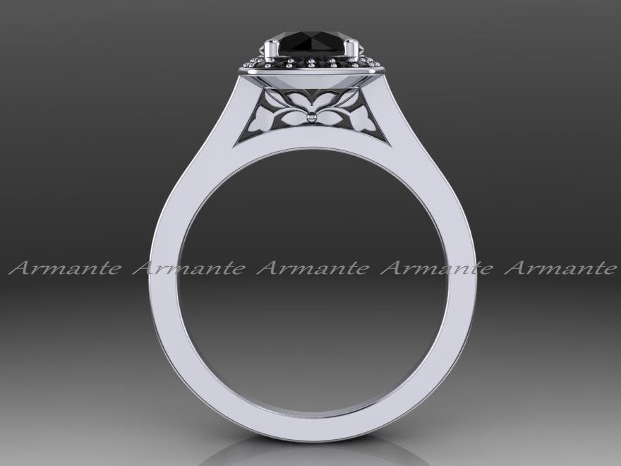 Halo Black Diamond Engagement Ring, 14K White Gold