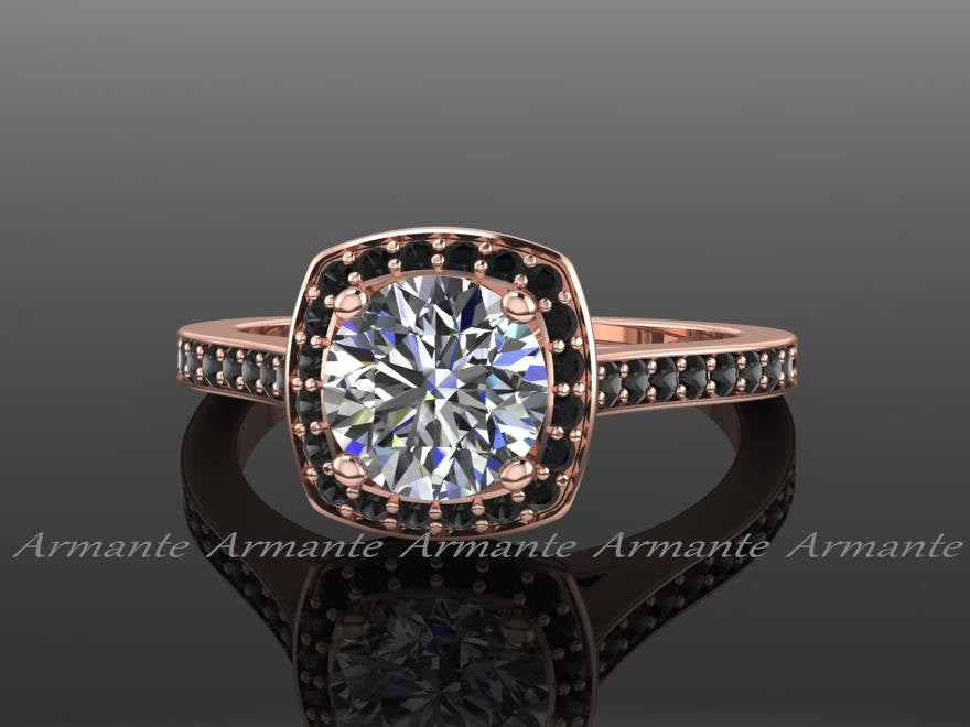 Black Diamond And Moissanite Engagement Ring, 14k Rose Gold Filigree Engagement Ring Re0008
