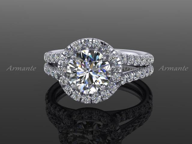Halo Engagement Ring, 18K White Gold Moissanite and Diamond Split Shank Engagement Ring Round Diamond and Moissanite Wedding Ring. RE00021