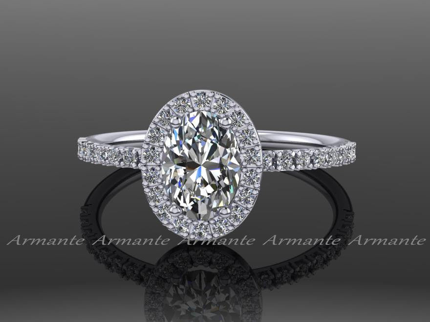 Oval Forever Brilliant Moissanite and Diamond Wedding Ring