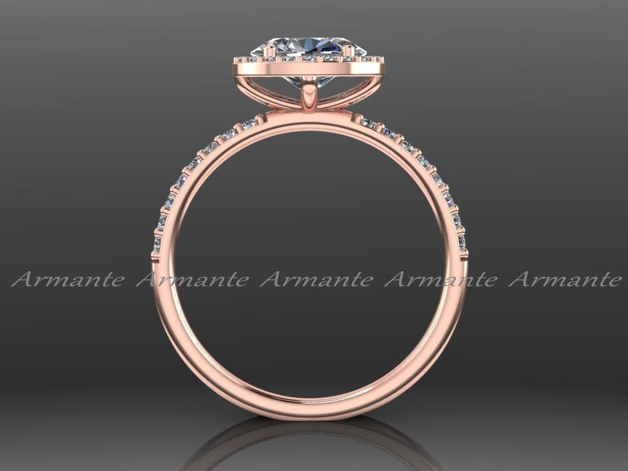 Unique 14K Rose Gold Oval Moissanite Engagement Ring