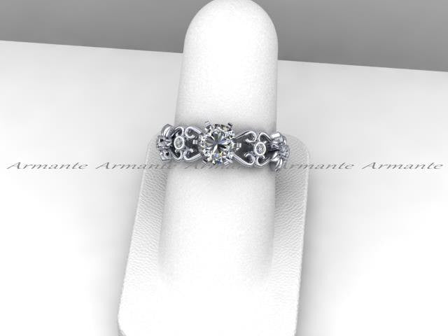 Moissanite & Diamond Filigree Engagement Wedding Ring