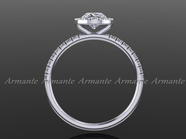 Oval Cut Moissanite & Diamond Engagement Ring