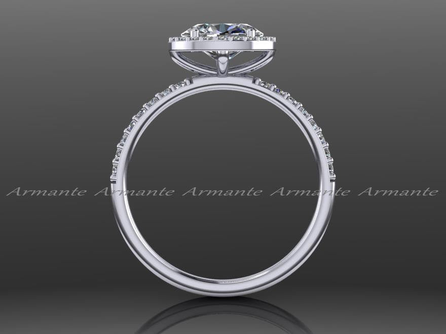 Unique Oval Moissanite & Diamond Engagement Ring