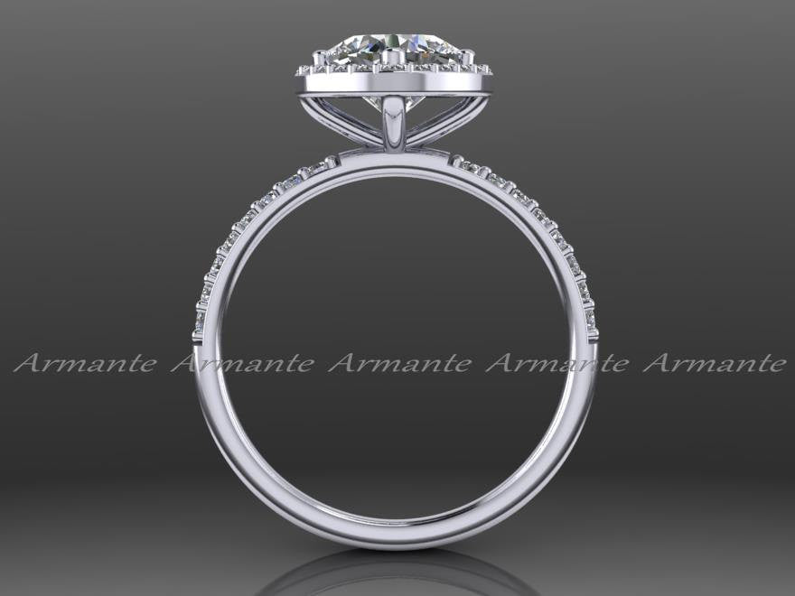Diamond And Moissanite Engagement Ring 14K White Gold