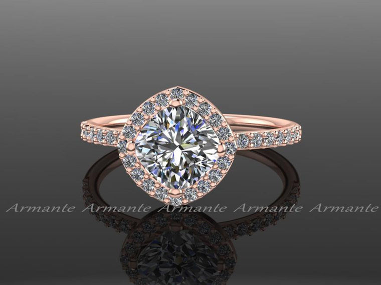 Unique Cushion Moissanite & Diamond Rose Gold Wedding Ring
