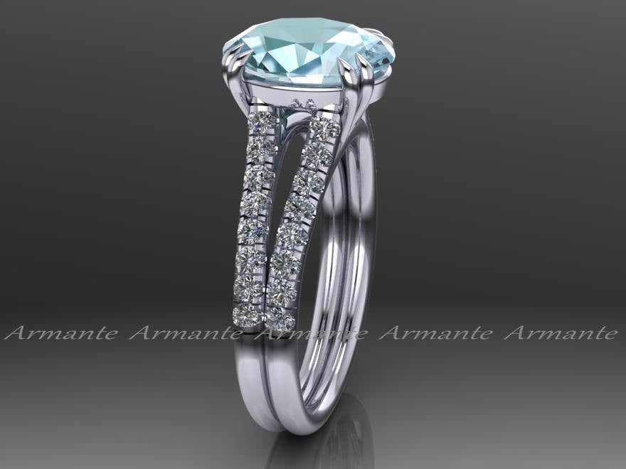 Oval Cut Aquamarine and Diamond Engagement Ring