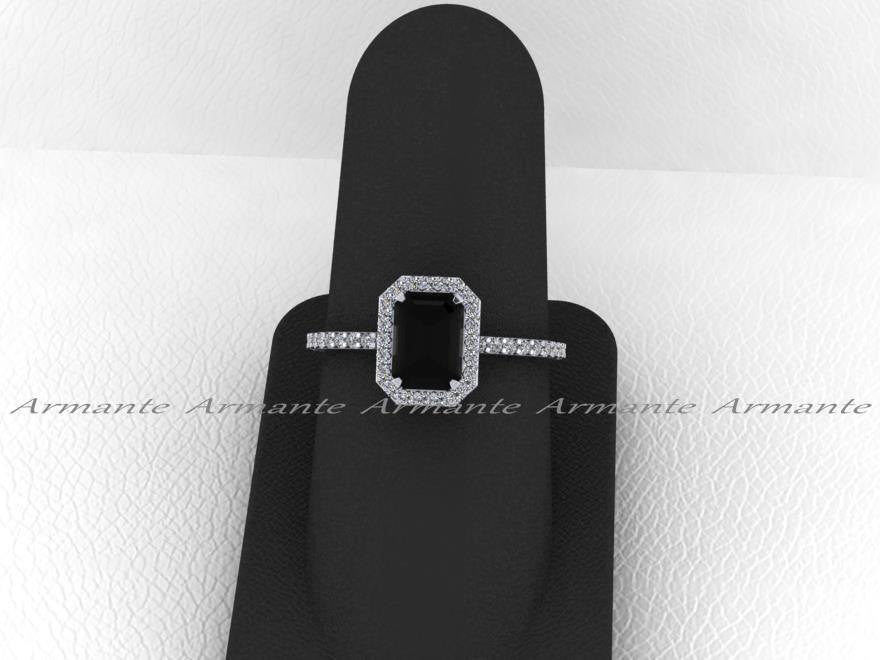 Black and White Diamond Emerald Cut Engagement Ring