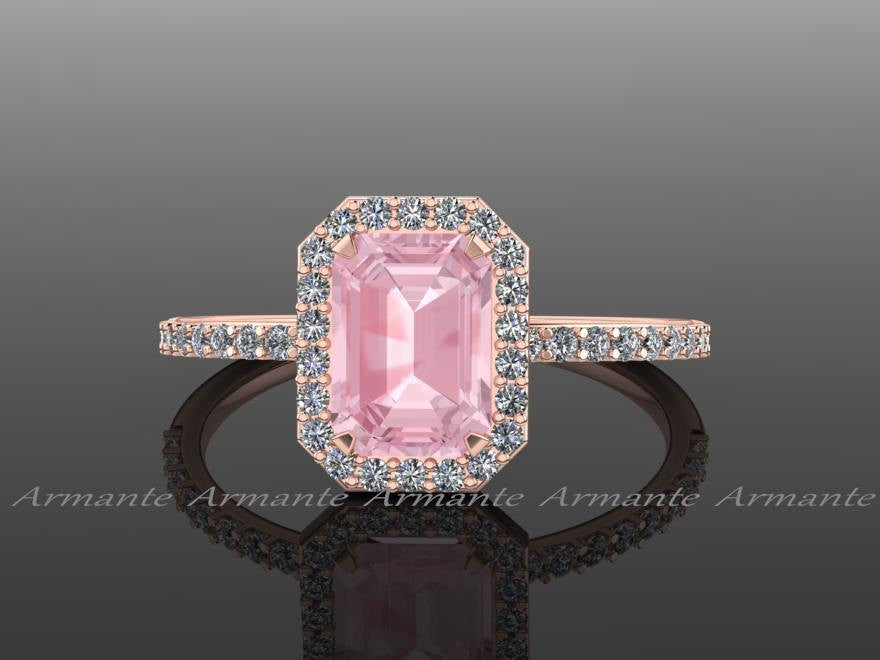 Diamonds & Emerald Cut Morganite Rose Gold Halo Ring