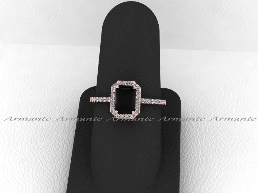 Rose Gold, Black Diamond Emerald Cut Engagement Ring