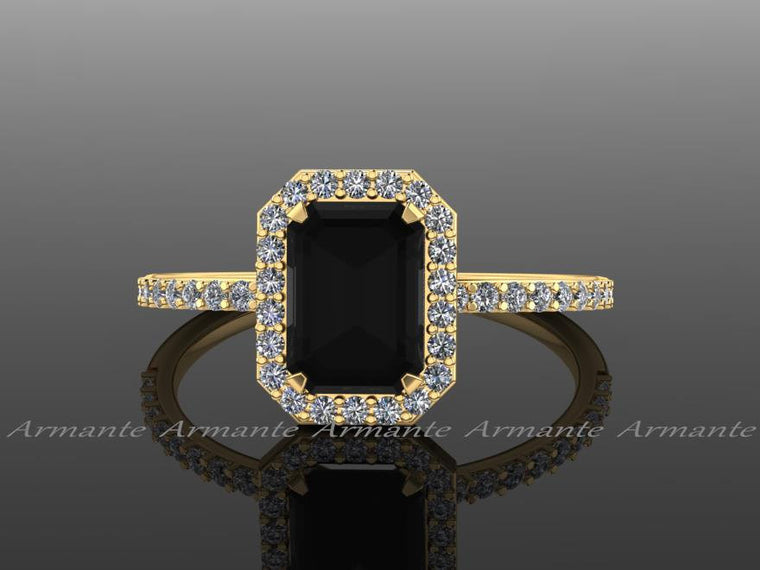 18k Yellow Gold Black Diamond Emerald Cut Engagement Ring, White And Black Diamond Halo Ring, Wedding Ring Re0005