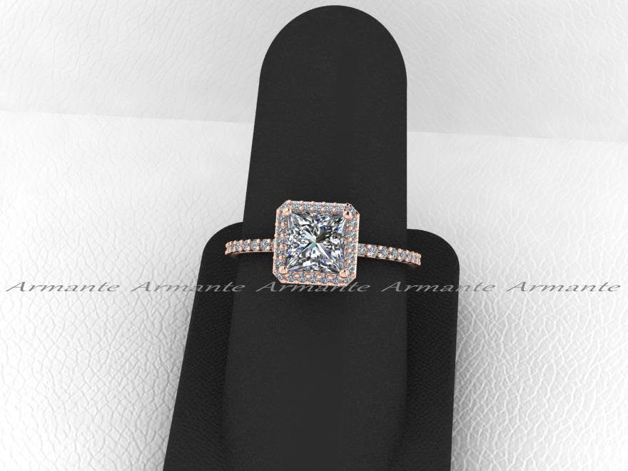 Diamond And Square Moissanite Rose Gold Halo Ring