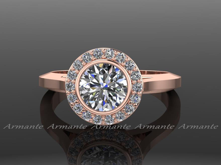 14K Rose Gold Halo Moissanite & Diamond Engagement Ring
