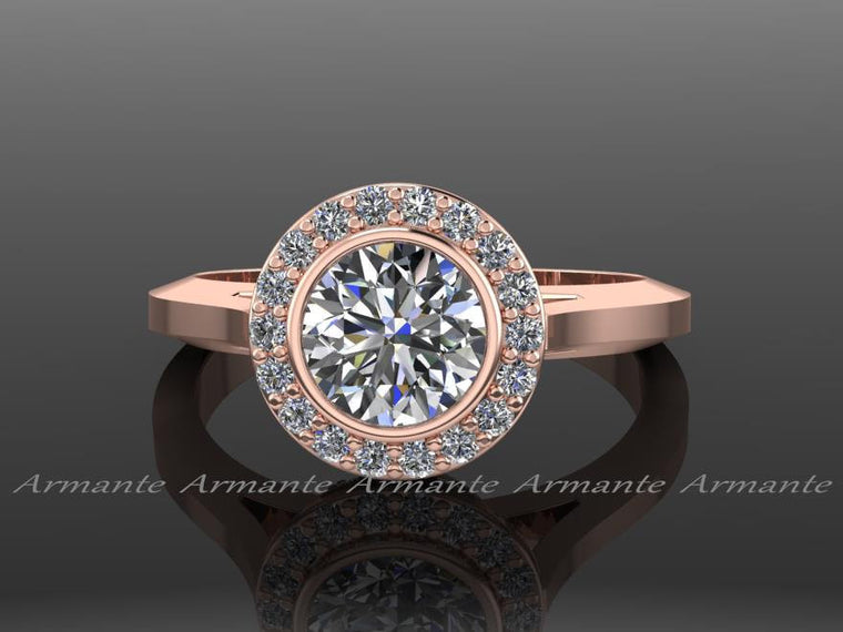 Engagement Ring Rose Gold Vintage Style Moissanite And Diamond  Engagement Ring 14k Rose Gold Re000r