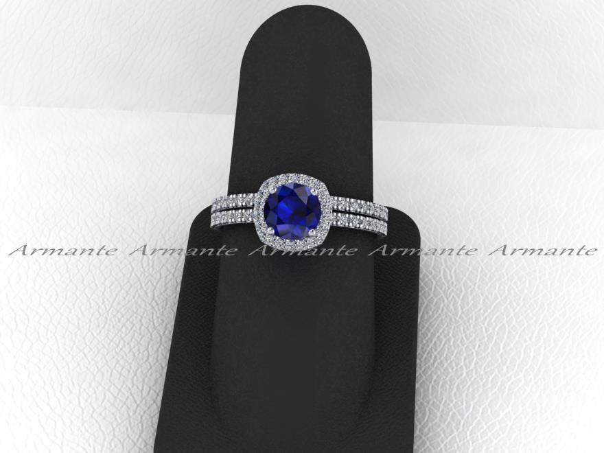 Blue Sapphire Engagement Set, Diamond Alternative, Halo Bridal Set , 14k White Gold Wedding Set Re00072