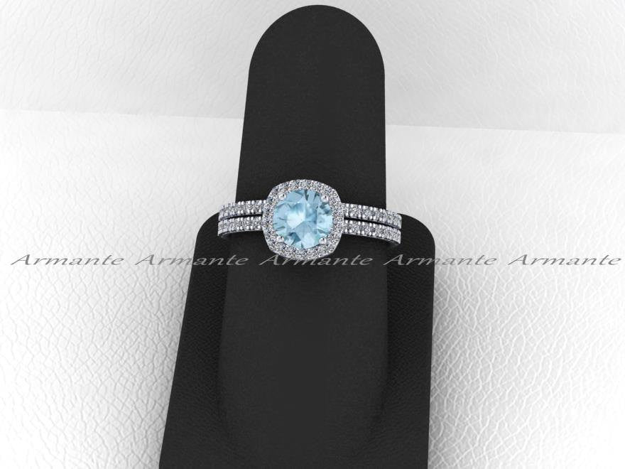 Aquamarine and White Sapphire Bridal Set, 14K White Gold