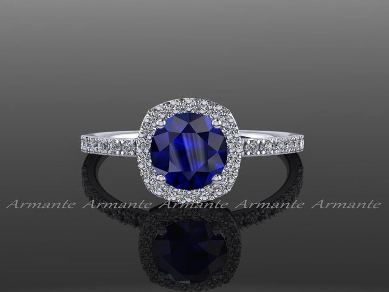 Diamond Alternative Halo Sapphire Engagement Ring