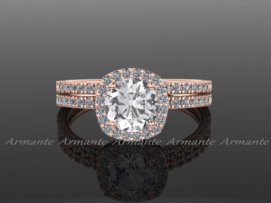 14K Rose Gold White Sapphire Wedding Ring Set